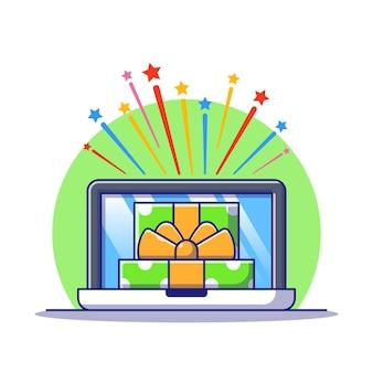 Caja de regalo abierta con explosión de estrellas y una computadora portátil que recibe una ilustración en línea de regalo