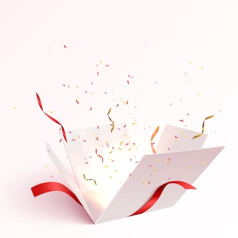 Caja de regalo abierta con explosión de explosión de confeti aislada.