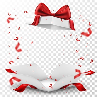 Caja de regalo abierta con lazo rojo y serpentina sobre fondo transparente