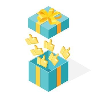 Caja de regalo abierta con pulgares arriba aislado sobre fondo blanco.