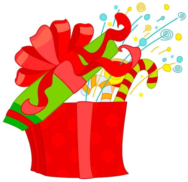 Caja de regalo abierta roja con cinta