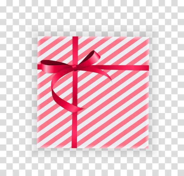 Caja de regalo abstracta de navidad y año nuevo sobre fondo transparente.