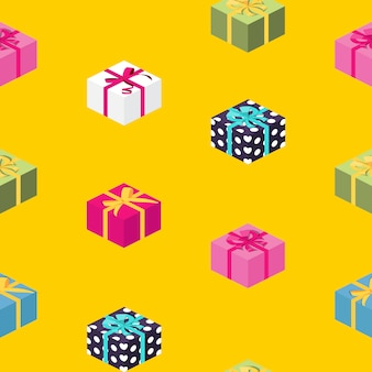 Caja de regalo abstracto con arco y cinta de patrones sin fisuras. illustrration