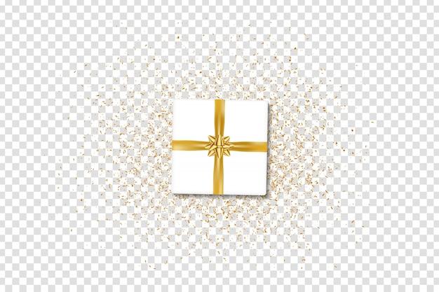 Caja de regalo aislada realista vector con cinta dorada y confeti para decoración y revestimiento en el espacio transparente.