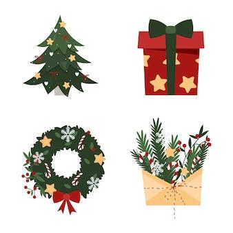 Caja de regalo de árbol de navidad sobre de regalo de corona de año nuevo con ramas, elementos navideños aislados y pegatinas