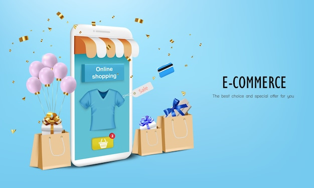 Caja regalo con bolsa de papel y móvil para compras online