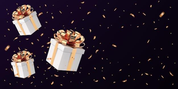 Caja de regalo cerrada blanca voladora con lazo de cinta dorada