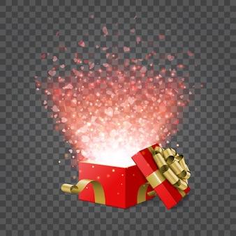 Caja de regalo y confeti de corazones aislados en ilustración de transparencia