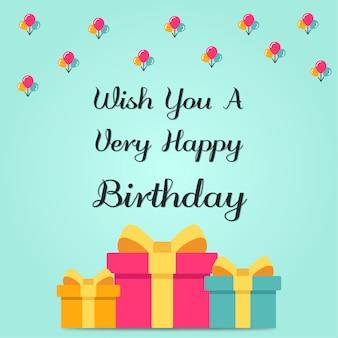 Caja de regalo de cumpleaños feliz y fondo de globo