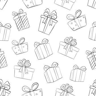 Caja de regalo de cumpleaños en patrones sin fisuras con doodle o estilo dibujado a mano