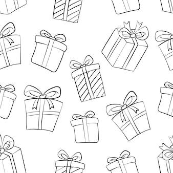 Caja de regalo dibujada a mano de patrones sin fisuras en blanco