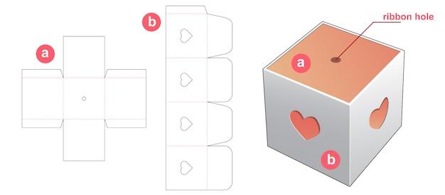 Caja de regalo con diseño de plantilla troquelada con tapa de ventana de corazón