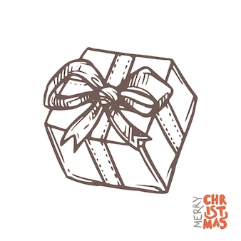 Caja de regalo en estilo boceto dibujado a mano, ilustración de doodle
