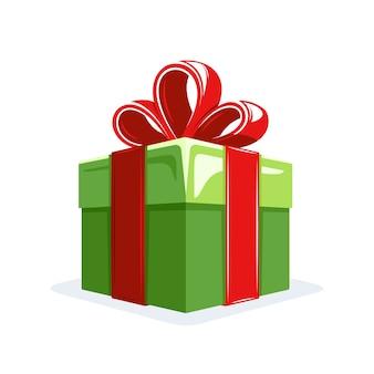 Caja de regalo de estilo plano aislado sobre fondo blanco. concepto de navidad. elementos de diseño para cumpleaños. estilo de dibujos animados.