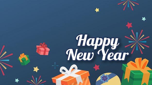 La caja de regalo estilo plano bg star con texto feliz año nuevo tarjeta versión