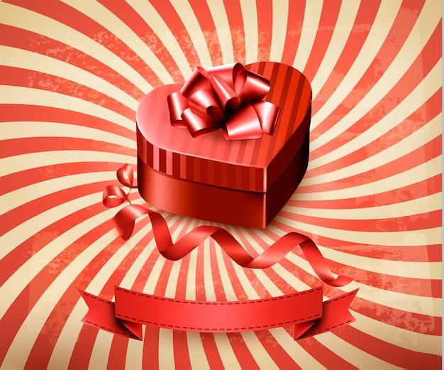 Caja de regalo en forma de corazón sobre fondo retro.