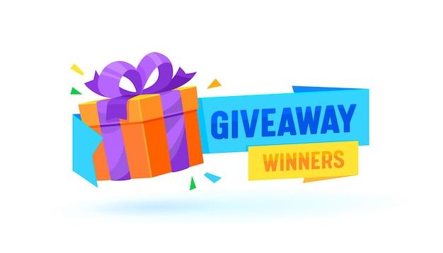 Caja de regalo de los ganadores del sorteo, pancarta con regalo envuelto con cinta, concurso de promoción, premio gratuito del concurso
