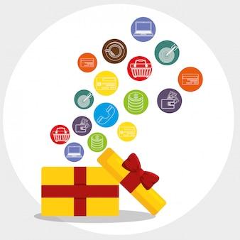 Caja de regalo con iconos conjunto de marketing