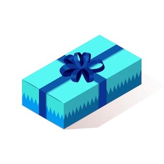 Caja de regalo isométrica 3d, presente con cinta, arco aislado sobre fondo.