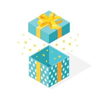 Caja de regalo isométrica con lazo, cinta sobre fondo blanco. paquete abierto con confeti brillante.