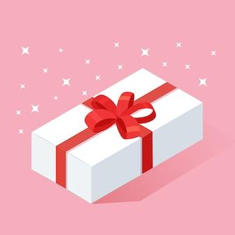 Caja de regalo isométrica, presente con cinta, lazo en el fondo. compras de navidad . sorpresa para aniversario, cumpleaños, boda.