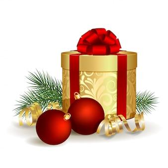 Caja de regalo con lazo de cinta roja y bola de navidad
