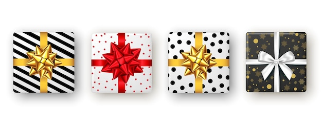 Caja de regalo con lazo y cinta roja y dorada, vista superior. diseño de paquete de navidad, fiesta de año nuevo, feliz cumpleaños o día de san valentín. presente aislado sobre fondo blanco. vector.