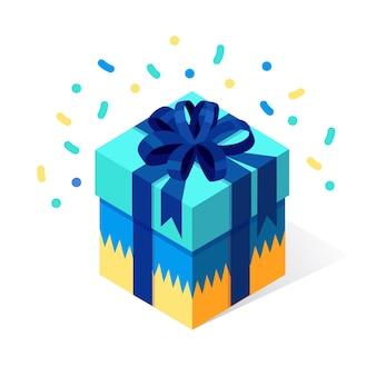 Caja de regalo con lazo, cinta sobre fondo blanco. paquete rojo isométrico, sorpresa con confeti. venta, compras. vacaciones, navidad, cumpleaños.