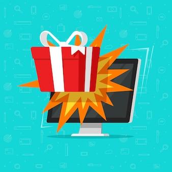 Caja de regalo en línea o ganar de dibujos animados plana monitor de la computadora