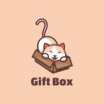 Caja de regalo con logotipo estilo mascota simple.