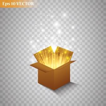 Caja de regalo mágica sobre fondo transparente