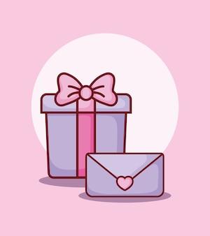 Caja de regalo y mensaje de correo electrónico de citas en línea.