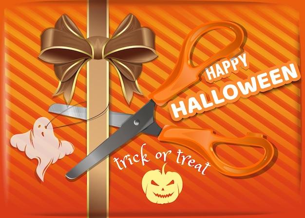 Caja de regalo naranja para halloween. diseño de fondo de halloween. ilustración vectorial