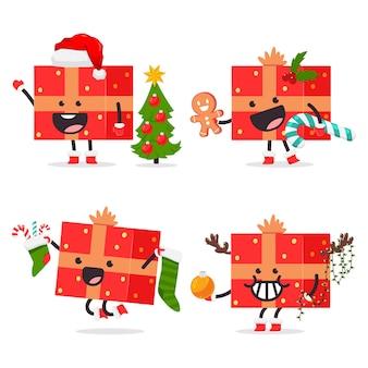 Caja de regalo de navidad divertida con personajes de dibujos animados de arco conjunto aislado sobre fondo blanco.