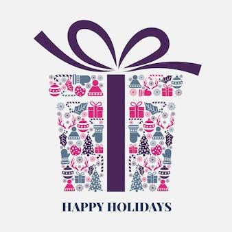 Caja de regalo de navidad en estilo creativo.