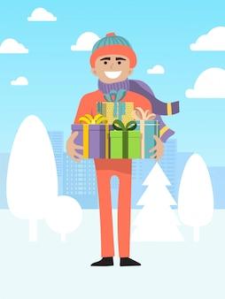 Caja de regalo de navidad presente de personaje masculino, ilustración de hombre persona. fiesta internacional de navidad y víspera de año nuevo.