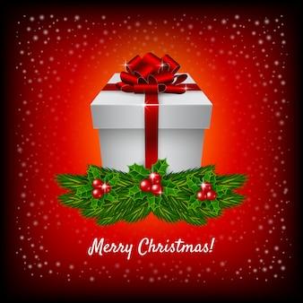 Caja de regalo de navidad sobre fondo rojo