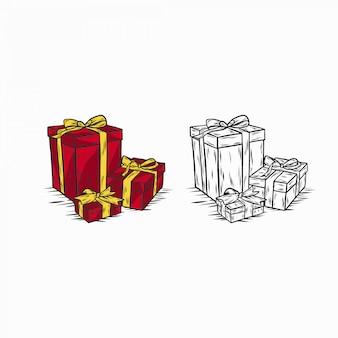 Caja regalo navidad vintage dibujado mano