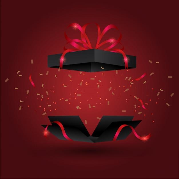 Caja de regalo negra bomba con cinta dorada,