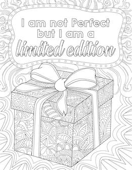 Caja de regalo con nudo de cinta y bocadillo con mensaje no soy perfecto pero soy limitado