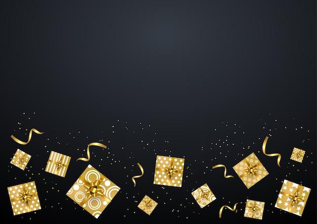 Caja de regalo de oro en el fondo negro, feliz año nuevo, feliz navidad.