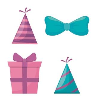 Caja de regalo presente y accesorios de fiesta.