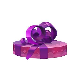 Caja de regalo púrpura redonda con lazo, vector de navidad o navidad, diseño de celebración navideña de cumpleaños y san valentín. paquete de regalo o sorpresa en papel de regalo con patrón de corazones y cinta de seda