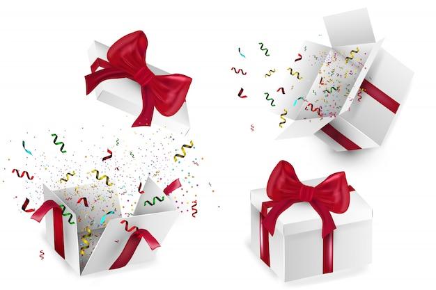Caja de regalo realista abierta con lazo rojo, globos y confeti multicolor, sobre fondo blanco con sombra. ilustración.
