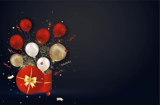 Caja de regalo roja abierta con explosión de confeti sorpresa, globos de aire, serpentina, luces.