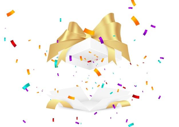 Caja regalo sorpresa. ilustración de confeti cayendo.