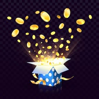 Caja de regalo con textura abierta aislada con explosión de monedas en el fondo transparente