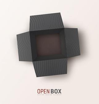 Caja de regalo con textura negra abierta sobre fondo claro. vista superior aislada caja de regalo. maqueta, elemento de diseño