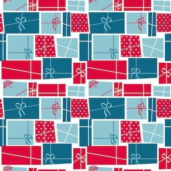 Caja de regalo de vacaciones de patrones sin fisuras ilustración vectorial de fondo. eps10