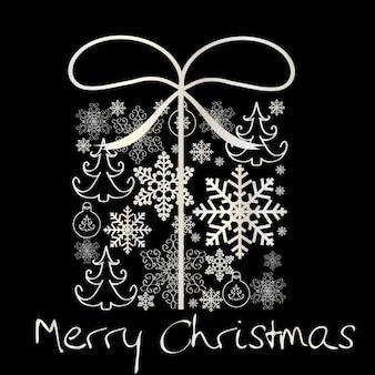 Caja de regalo vintage de navidad con ilustración de vector de patrón de copo de nieve
